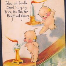 """KEWPIE DOLLS """"BLOW OUT TROUBLE"""" NEW YEAR HAPPINESS,O'NEILL,VINTAGE POSTCARD"""