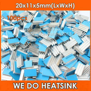 100pcs DIY 20*11*5mm Aluminum IC CHIPs Heatsink Cooler With Blue Thermal Tape