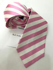 Paul Smith Stripe Tie Pink & White Stripe Tie 100% Silk Made in Italy