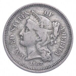***3***THREE***Cent*** - 1867 Three Cent Nickel Piece - Tough to Find *489