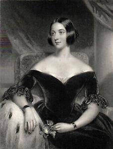 MRS KNATCHBULL 1844 William Henry Egleton - John George Wood  ANTIQUE  ETCHING