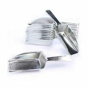 Metallic Silver Hard Acrylic Candy Buffet Scoops - Package of 12 for Wedding,...