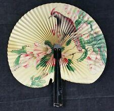 Pretty 45cm Wide Oriental Vintage Paper Fan With Charming Floral Design W Bird