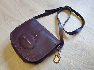 Authentic Longchamp Quadri Purple Leather Crossbody Shoulder Bag violet