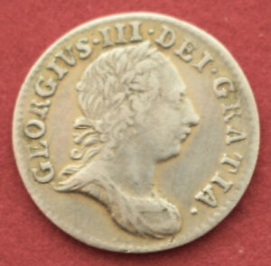 NICE GRADE GEORGE III THREEPENCE 1763