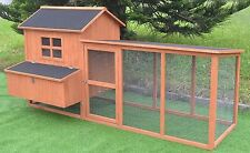 "Large 87"" Deluxe Solid wood Hen Chicken Cage House Coop Huge w/ Run nesting box"