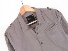 RP2087 G-Star Raw Azul Marino Ola Camisa De Vestir Original Premium Marrón de rayas Talla L