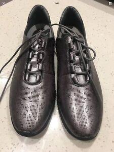 New Django Juliette Leather Sneakers Shoes Size 37 Metallic Gunmetal #43