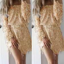 Women's Gold Sequin Dress Long Sleeve Formal Cocktail Party Evening Mini Dress