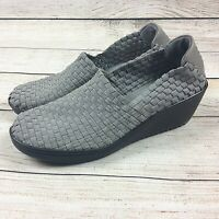 Bare Traps Womens Ulricka Shoes 7.5 Gray Stretch Woven Wedge Heel Slip On