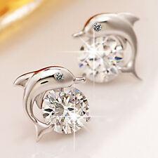 Cubic Zircon & Dolphin Ear Stud Earrings Womens 925 Silver Plated Womens Jewelry