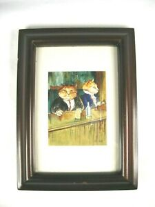 Framed Humorous Cat Print(Two Cats at a Bar having a Drink)Signed Susan Herbet