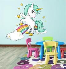Unicorn Rainbow Clouds Girls Bedroom Wall Art Sticker Decal Transfer Print P2M