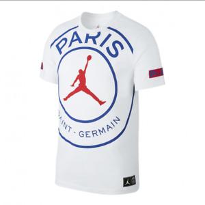 Nike Jordan Paris Saint Germain PSG Logo Men T-Shirt White BQ8384