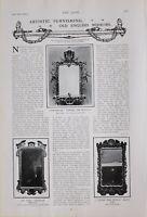 1903 Estampado Artístico Muebles Inglés Espejos Chippendale Early Georgiano