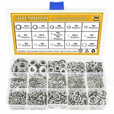 Sutemribor 304 Stainless Steel Flat Washer and Lock Washer Assortment Set 700 8