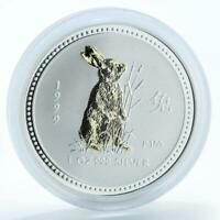 Australia $1 Year of Rabbit Lunar Series I 1 oz silver gilded coin 1999