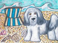 Tibetan Terrier at the Beach Collectible Dog Art Print 8 x 10 Signed by Ksams