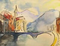 Old Watercolors on Paper Israeli Painting Signed Unknown Artist 12X15 cm