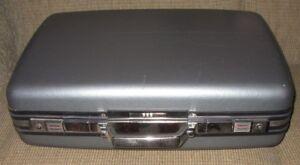 "Vintage Blue Large American Tourister 24"" Tiara Suitcase Hard Shell Luggage Keys"