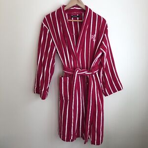 Ralph Lauren Sz M Magenta Striped Midi Robe Terry Cloth Monogrammed LRL