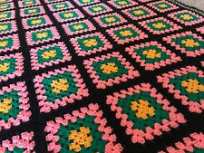 Vintage Hand Made Crochet Granny Square Afghan Blanket Throw Pink Black Green