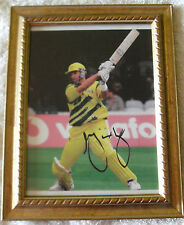 MARK WAUGH CRICKET FRAMED SIGNED IN PERSON 6 x 8 Inch WORLD CUP PHOTO