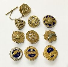 10 VINTAGE GOODYEAR TYRES LONG SERVICE BADGES GOLD ENAMEL DIAMOND 5 to 45 YEARS