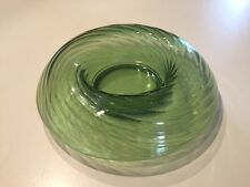 VINTAGE VASELINE GREEN DEPRESSION GLASS ROLLED RIM CONSOLE CONDIMENT BOWL Swirl