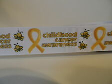 """Grosgrain Ribbon, Childhood Cancer Awareness with Bumble Bees Yellow Ribbon 7/8"""""""