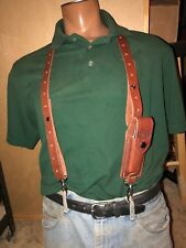 Tanned Leather Suspenders w Folding Knife Sheath Pouch Metal Pant Clips USA Made