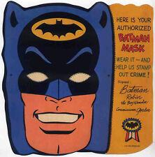 BATMAN REPRO 1966 PROMO PAPER BATMAN MASK . DC COMICS NOT DVD