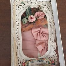 Antique Victorian Valentine In Orig Box 1800s Silk Ribbon Paper Lace Uk France