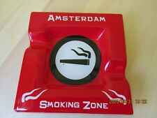 RED GLASS ASHTRAY FROM AMSTERDAM SMOKING ZONE