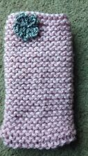 Hand knitted Mobile phone sock/cover/case Pastel Pink with Grey flower detail