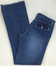Cache Womens Boot Cut Flare Jeans Button Flap Pockets Low Rise Stretch Size 4