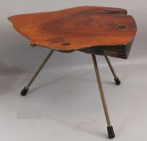 Signed Mid-CenturCirca 1950s Austrian Designer Carl Aubock Tree Trunk Side Table