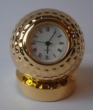 GIFT- MINIATURE GOLF BALL CLOCK - SOLID BRASS & GOLD PLATED - BOXED