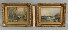 Pr Antique Seascape Seagull & Wooded Birch Tree Landscape American Oil Paintings