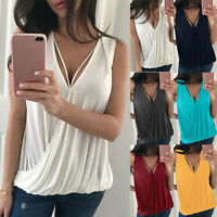 Womens Summer Vest Tops Sleeveless Shirt Blouse Casual Tank Tops Wrap T-Shirts