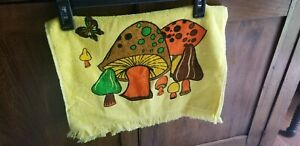 Vintage Mushrooms Butterfly Retro Hand Towel Cannon 70's Psycadelic