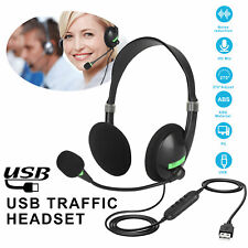 Wired USB Headphones Anti-noise Headset For PC Laptop Call Center Meeting Skype