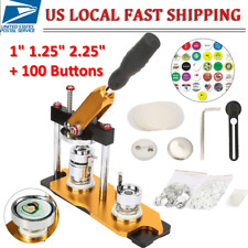 "1"" 1.25"" 2.25"" Button Maker Badge Machine w/100 Sets Circle Button Parts Rotate"