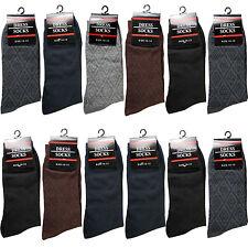 New 12 Pairs Cc Mens Geometric Cotton Dress Socks Size 10-13 Black Gray Brown