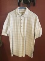 Tommy Bahama Men's Short Sleeve 3/4 Button Down 100% Cotton Plaid Shirt M