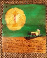 "Retablo ""Thanks Jesus from Sick Man"" Original Folk Art Mexican Ex-Voto Painting"