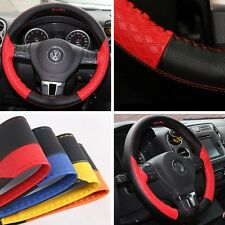 """15"""" Steering Wheel Cover Black & Red PVC Leather Wrap Sew Kit 47019 Large Car"""