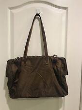 PRADA Nylon Brown Leather Shoulder Bag Zip Top Overnight  Shopper Doctor Bag