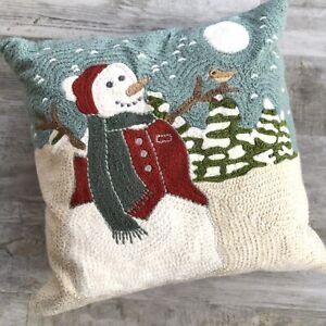 "Pottery Barn Crewel Snowman Pillow 18"" Square Christmas Winter Polyfil Insert"