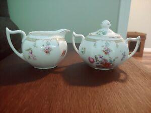 Vintage Z.S. and CO. Bavaria Sugar And Creamer Set. Pink flowers